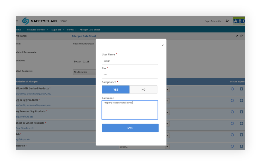 Compliance Form SafetyChain Software