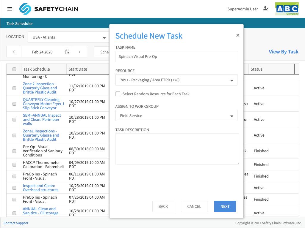 SafetyChain Software Task Scheduler - Web - iPad